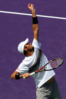 KEY BISCAYNE, FL - APRIL 01:  Mardy Fish serves against Novak Djokovic of Serbia during their semifinal match at the Sony Ericsson Open at Crandon Park Tennis Center on April 1, 2011 in Key Biscayne, Florida.  (Photo by Clive Brunskill/Getty Images)