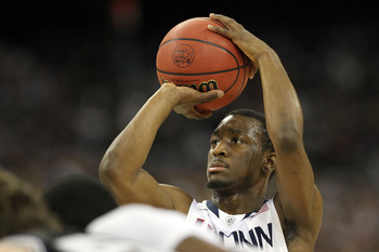 HOUSTON, TX - APRIL 04:  Kemba Walker #15 of the Connecticut Huskies at the free throw line against the Butler Bulldogs during the National Championship Game of the 2011 NCAA Division I Men's Basketball Tournament at Reliant Stadium on April 4, 2011 in Ho