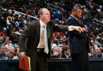 ATLANTA, GA - APRIL 01:  Head coach Doc Rivers and assistant coach Lawrence Frank of the Boston Celtics against the Atlanta Hawks at Philips Arena on April 1, 2011 in Atlanta, Georgia.  NOTE TO USER: User expressly acknowledges and agrees that, by downloa