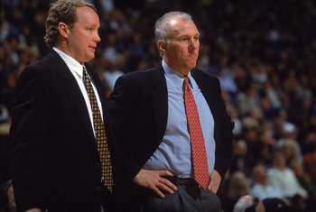 10 Nov 2000:  Head Coach Gregg Popovich of the San Antonio Spurs talks with Asst. Coach Mike Budenholzer on the sidelines during the game against the Dallas Mavericks at the Reunion Arena in Dallas, TX. The Mavericks defeated the Spurs 79-77.  NOTE TO USE