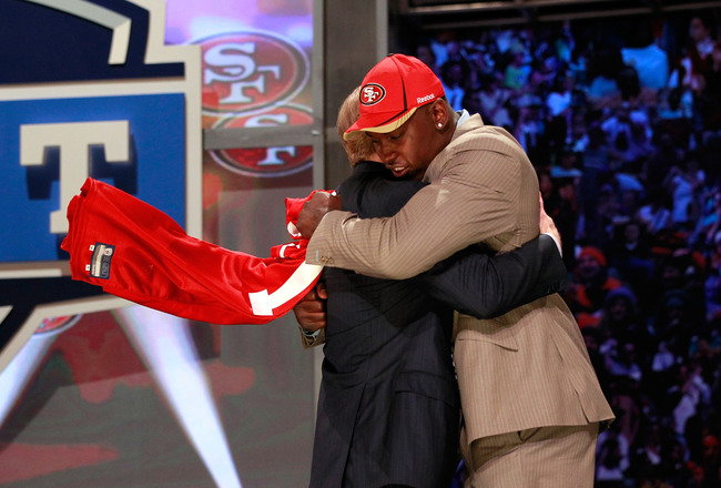 NEW YORK, NY - APRIL 28:  NFL Commissoner Roger Goodell greets Aldon Smith, #7 overall pick by the San Francisco 49ers, during the 2011 NFL Draft at Radio City Music Hall on April 28, 2011 in New York City.  (Photo by Chris Trotman/Getty Images)