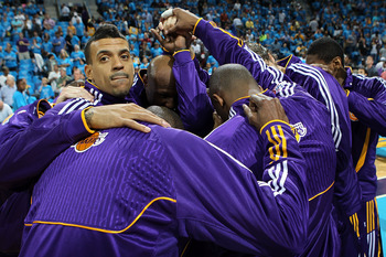 NEW ORLEANS, LA - APRIL 28:  Matt Barnes #9 and Los Angeles Lakers huddle before a game against the New Orleans Hornets in Game Six of the Western Conference Quarterfinals in the 2011 NBA Playoffs on April 28, 2011 at New Orleans Arena in New Orleans, Lou