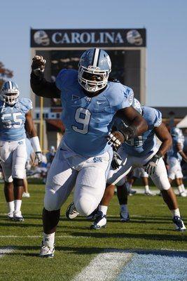 CHAPEL HILL, NC - NOVEMBER 7:  Marvin Austin #9 of the North Carolina Tar Heels warms up before the game against the Duke Blue Devils at Kenan Stadium on November 7, 2009 in Chapel Hill, North Carolina. (Photo by Streeter Lecka/Getty Images)