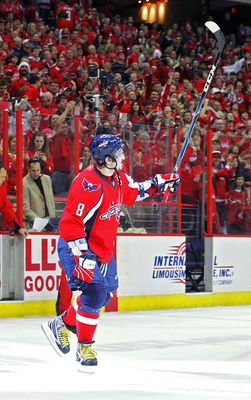 WASHINGTON , DC - APRIL 23:  Alex Ovechkin #8 of the Washington Capitals celebrates being named the second star of the game against the New York Rangers in Game Five of the Eastern Conference Quarterfinals during the 2011 NHL Stanley Cup Playoffs at the V