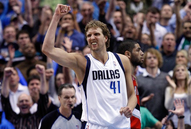 DALLAS, TX - APRIL 16:  Forward Dirk Nowitzki #41 of the Dallas Mavericks reacts against the Portland Trail Blazers in Game One of the Western Conference Quarterfinals during the 2011 NBA Playoffs on April 16, 2011 at American Airlines Center in Dallas, T