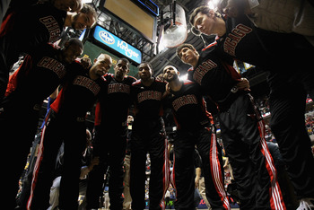 INDIANAPOLIS, IN - APRIL 23: The Chicago Bulls huddle before the start of Game Four of the Eastern Conference Quarterfinals in the 2011 NBA Playoffs against the Indiana Pacers at Conseco Fieldhouse on April 23, 2011 in Indianapolis, Indiana. The Pacers de