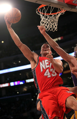 LOS ANGELES, CA - JANUARY 14:  Kris Humphries #43 of the New Jersey Nets shoots against the Los Angeles Lakers at Staples Center on January 14, 2011 in Los Angeles, California. The Lakers won 100-88.  NOTE TO USER: User expressly acknowledges and agrees t