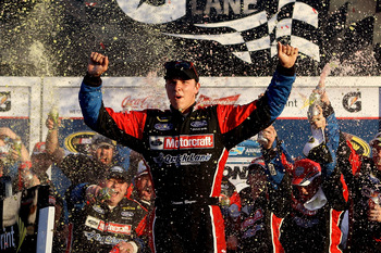 DAYTONA BEACH, FL - FEBRUARY 20:  Trevor Bayne, driver of the #21 Motorcraft/Quick Lane Ford, celebrates in Victory Lane after winning the NASCAR Sprint Cup Series Daytona 500 at Daytona International Speedway on February 20, 2011 in Daytona Beach, Florid