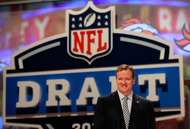 NEW YORK, NY - APRIL 28:  NFL Commissioner Roger Goodell looks on during the 2011 NFL Draft at Radio City Music Hall on April 28, 2011 in New York City.  (Photo by Chris Trotman/Getty Images)