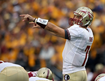 CHESTNUT HILL, MA - OCTOBER 03:  Christian Ponder #7 of the Florida State Seminoles calls out the play in the first half against the Boston College Eagles on October 3, 2009 at Alumni Stadium in Chestnut Hill, Massachusetts. (Photo by Elsa/Getty Images)