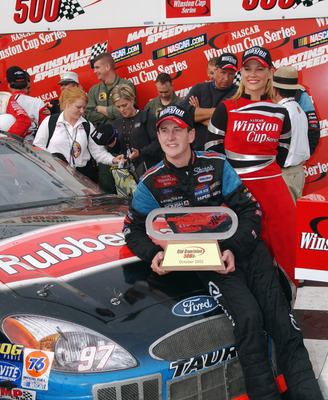 MARTINSVILLE, VA - OCTOBER 20:  Kurt Busch, driver of the #97 Sharpie Ford Taurus, celebrates after winning the NASCAR Winston Cup Old Dominion 500 on October 20, 2002 at Martinsville Speedway in Martinsville, Virginia. (Photo By Rusty Jarrett/Getty Image
