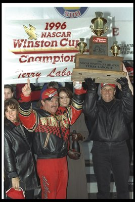 10 Nov 1996:  NASCAR driver Terry LaBonte and team owner Rick Hendrick celebrate after the NAPA 500 NASCAR event at the Atlanta Motor Speedway in Hampton, Georgia. Terry Labonte finished fifth and captured the Winston Cup Series points trophy at this even