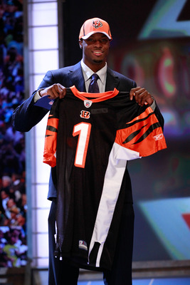 NEW YORK, NY - APRIL 28:  A.J. Green, #4 overall pick by the Cincinnati Bengals, holds up a jersey after he was drafted during the 2011 NFL Draft at Radio City Music Hall on April 28, 2011 in New York City.  (Photo by Chris Trotman/Getty Images)