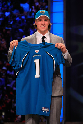 NEW YORK, NY - APRIL 28:  Blaine Gabbert, #11 overall pick by the Jacksonville Jaguars, holds up a jersey during the 2011 NFL Draft at Radio City Music Hall on April 28, 2011 in New York City.  (Photo by Chris Trotman/Getty Images)