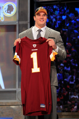 NEW YORK, NY - APRIL 28:  Ryan Kerrigan, #16 overall pick by the Washington Redskins, holds up a jersey on stage during the 2011 NFL Draft at Radio City Music Hall on April 28, 2011 in New York City.  (Photo by Chris Trotman/Getty Images)