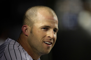 NEW YORK, NY - APRIL 25:  Brett Gardner #11 of the New York Yankees looks on from the dugout during the game against the Chicago White Sox at Yankee Stadium on April 25, 2011 in the Bronx borough of New York City.  (Photo by Chris Trotman/Getty Images)