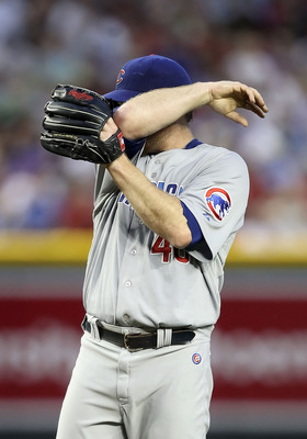 Ryan Dempster, trying to hide his shame.