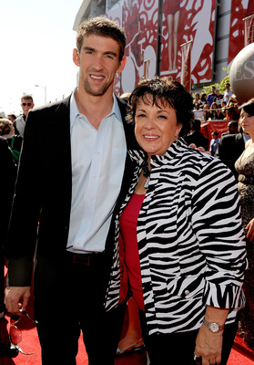 LOS ANGELES, CA - JULY 15:  Olympic Gold Medalist Michael Phelps (L) and his mother Debbie Davisson Phelps arrive at the 2009 ESPY Awards held at Nokia Theatre LA Live on July 15, 2009 in Los Angeles, California. The 17th annual ESPYs will air on Sunday,
