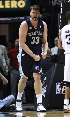 SAN ANTONIO, TX - APRIL 27:  Marc Gasol #33 of the Memphis Grizzlies reacts to a call during a game against the San Antionio Spurs in Game Five of the Western Conference Quarterfinals in the 2011 NBA Playoffs on April 27, 2011 at AT&T Center in San Antoni