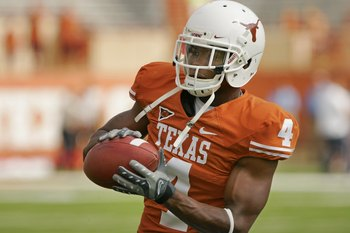 AUSTIN, TX - NOVEMBER 07:  Defensive back Aaron Williams #4 of the Texas Longhorns practices before a game against the UCF Knights on November 7, 2009 at Darrell K Royal - Texas Memorial Stadium in Austin, Texas.  Texas won 35-3.  (Photo by Brian Bahr/Get