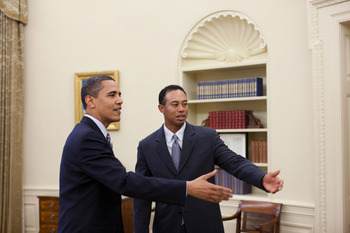 WASHINGTON - APRIL 20:  In this handout released today by the White House, U.S.  President Barack Obama (L) talks with professional golfer Tiger Woods in the Oval Office of the White House on April 20, 2009 in Washington, DC. The 14-time major winner visi