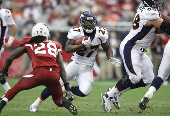 GLENDALE, AZ - DECEMBER 12:  Runningback Knowshon Moreno #27 of the Denver Broncos runs with the football during the NFL game against the Arizona Cardinals at the University of Phoenix Stadium on December 12, 2010 in Glendale, Arizona.  The Cardinals defe