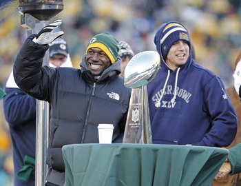 GREEN BAY, WI - FEBRUARY 08: Green Bay Packers wide receivers Donald Driver and Jordy Nelson address the fans during the Packers victory ceremony at Lambeau Field on February 8, 2011 in Green Bay, Wisconsin.  (Photo by Matt Ludtke/Getty Images)