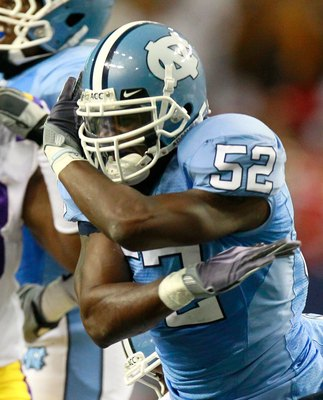 ATLANTA - SEPTEMBER 04:  Quan Sturdivant #52 of the North Carolina Tar Heels against the LSU Tigers during the Chick-fil-A Kickoff Game at Georgia Dome on September 4, 2010 in Atlanta, Georgia.  (Photo by Kevin C. Cox/Getty Images)