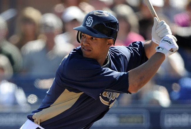 PEORIA, AZ - MARCH 02:  Will Venable #25 of the  San Diego Padres at bat against the Colorado Rockies during spring training at Peoria Stadium on March 2, 2011 in Peoria, Arizona.  (Photo by Harry How/Getty Images)