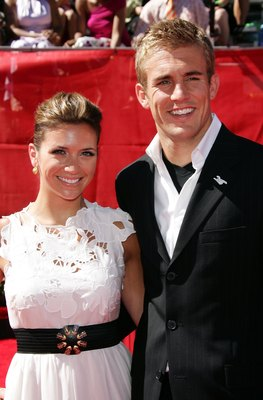 HOLLYWOOD - JULY 12:  Soccer player Taylor Twellman and his wife Lindsay arrive at the 2006 ESPY Awards at the Kodak Theatre on July 12, 2006 in Hollywood, California.  (Photo by Frazer Harrison/Getty Images)