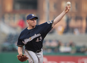 PITTSBURGH, PA - APRIL 14:  Randy Wolf #43 of the Milwaukee Brewers throws a pitch during their game against the Pittsburgh Pirates at PNC Park on April 14, 2011 in Pittsburgh, Pennsylvania.  (Photo by Scott Halleran/Getty Images)