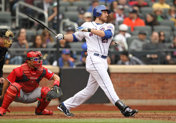 NEW YORK, NY - APRIL 10:  Ike Davis #29 of the New York Mets gets a hit and drives in a run against  the Washington Nationals during their game on April 10, 2011 at Citi Field in the Flushing neighborhood of the Queens borough of New York City.  (Photo by