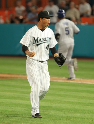 MIAMI GARDENS, FL - APRIL 26:  Leo Nunez #46 of the Florida Marlins reacts after winning a game against the Los Angeles Dodgers at Sun Life Stadium on April 26, 2011 in Miami Gardens, Florida.  (Photo by Mike Ehrmann/Getty Images)