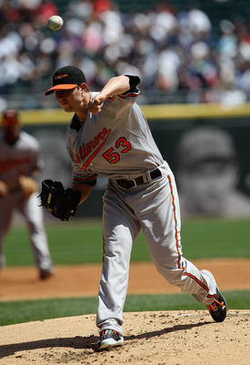 CHICAGO, IL - MAY 01: Starting pitcher Zach Britton #53 of the Baltimore Orioles delivers the ball against the Chicago White Sox at U.S. Cellular Field on May 1, 2011 in Chicago, Illinois. (Photo by Jonathan Daniel/Getty Images)