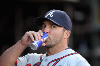 SAN FRANCISCO, CA - APRIL 22:  Dan Uggla #26 of the Atlanta Braves stands in the dugout before their game against the San Francisco Giants at AT&amp;T Park on April 22, 2011 in San Francisco, California.  (Photo by Ezra Shaw/Getty Images)