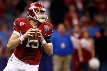 NEW ORLEANS, LA - JANUARY 04:  Ryan Mallett #15 of the Arkansas Razorbacks looks to pass against the Ohio State Buckeyes during the Allstate Sugar Bowl at the Louisiana Superdome on January 4, 2011 in New Orleans, Louisiana.  (Photo by Chris Graythen/Gett