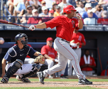PEORIA, AZ - MARCH 15:  Bobby Abreu #53 of the Los Angeles Angels of Anaheim bats against the San Diego Padres during the fifth inning of the spring training game at Peoria Stadium on March 15, 2011 in Peoria, Arizona.  (Photo by Christian Petersen/Getty