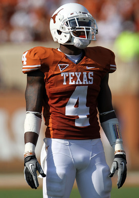 AUSTIN, TX - SEPTEMBER 25:  Cornerback Aaron Williams #4 of the Texas Longhorns at Darrell K Royal-Texas Memorial Stadium on September 25, 2010 in Austin, Texas.  (Photo by Ronald Martinez/Getty Images)