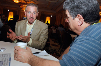 NEW ORLEANS, LA - MARCH 22:  St. Louis Rams head coach Steve Spagnuolo answers questions from the media during the NFL Annual Meetings at the Roosevelt Hotel on March 22, 2011 in New Orleans, Louisiana. Despite a NFL owners imposed lockout in effect since