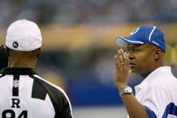 INDIANAPOLIS, IN - DECEMBER 19: Jim Caldwell of the Indianapolis Colts argues with Referee Mike Carey #94 against the Jacksonville Jaguars at Lucas Oil Stadium on December 19, 2010 in Indianapolis, Indiana.   The Colts defeated the Jaguars 34-24.   (Photo