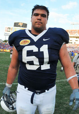 TAMPA, FL - JANUARY 1:  Guard Stefan Wisniewski #61 of the Penn State Nittany Lions leaves the field after play against the Florida Gators January 1, 2010 in the 25th Outback Bowl at Raymond James Stadium in Tampa, Florida.  (Photo by Al Messerschmidt/Get