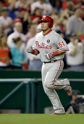 WASHINGTON, DC - APRIL 14: Carlos Ruiz #51 of the Philadelphia Phillies rounds the bases after hitting a home run against the Washington Nationals at Nationals Park on April 14, 2011 in Washington, DC.  (Photo by Rob Carr/Getty Images)
