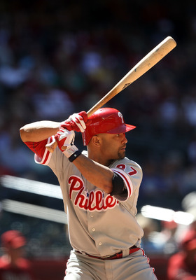 PHOENIX, AZ - APRIL 27:  Placido Polanco #27 of the Philadelphia Phillies bats against the Arizona Diamondbacks during the Major League Baseball game at Chase Field on April 27, 2011 in Phoenix, Arizona.  The Phillies defeated the Diamondbacks 8-4.  (Phot