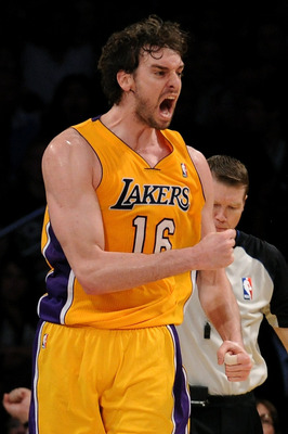 LOS ANGELES, CA - APRIL 26:  Pau Gasol #16 of the Los Angeles Lakers reacts after making a basket in the third quarter while taking on the New Orleans Hornets in Game Five of the Western Conference Quarterfinals in the 2011 NBA Playoffs on April 26, 2011