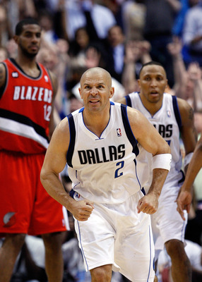 DALLAS, TX - APRIL 16:  Guard Jason Kidd #2 of the Dallas Mavericks reacts after a three point shot against the Portland Trail Blazers in Game One of the Western Conference Quarterfinals during the 2011 NBA Playoffs on April 16, 2011 at American Airlines