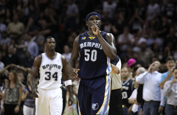 SAN ANTONIO, TX - APRIL 27:  Zach Randolph #50 of the Memphis Grizzlies gestures to the crowd near the end of regulation against the San Antionio Spurs in Game Five of the Western Conference Quarterfinals in the 2011 NBA Playoffs on April 27, 2011 at AT&T