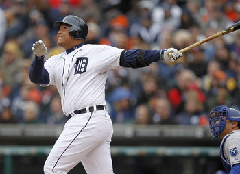 DETROIT, MI - APRIL 08:  Miguel Cabrera #24 of the Detroit Tigers bats against the Kansas City Royals at Comerica Park on April 8, 2011 in Detroit, Michigan.  (Photo by Gregory Shamus/Getty Images)