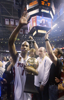 AUBURN HILLS, MI - JUNE 15:  Chauncey Billups #1 of the Detroit Pistons celebrates with the MVP trophy while leaving the court after defeating the Los Angeles Lakers 100-87 in game five of the 2004 NBA Finals on June 15, 2004 at The Palace of Auburn Hills