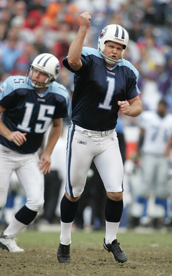 NASHVILLE, TN - JANUARY 2:  Gary Anderson #1 of the Tennessee Titans celebrates after a field goal attempt during the game against the Detroit Lions at The Coliseum on January 2, 2005 in Nashville, Tennessee.  TheTitans won 24-19.  (Photo by Andy Lyons/Ge