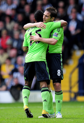 WEST BROMWICH, ENGLAND - APRIL 16:  Frank Lampard of Chelsea celebrates scoring his team's third goal with team mate Florent Malouda (L) during the Barclays Premier League match between West Bromich Albion and Chelsea at The Hawthorns on April 16, 2011 in